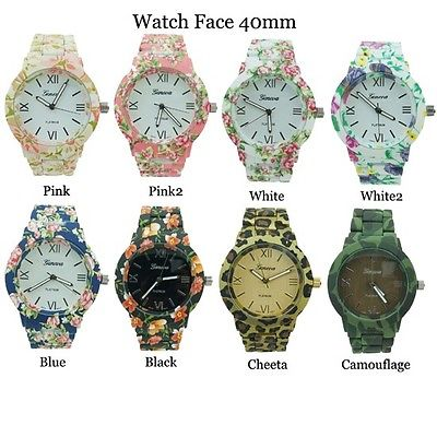 FLORAL FLOWER GENEVA LADIES RUBBERIZED COATED ROUND LINK FASHION WATCH 40mm