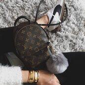 bag,louis vuitton backpack,backpack,louis vuitton,mini backpack,bag accessoires,fur keychain,bracelets,tumblr,sneakers