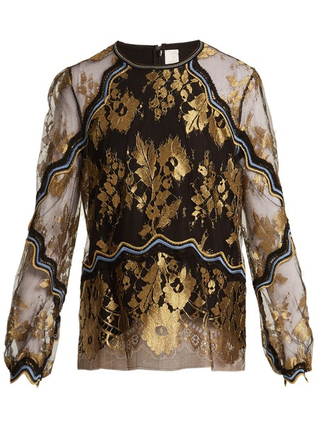 Peter Pilotto top lace floral gold black