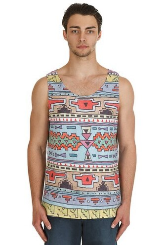 tank top print printed tank top full print all over print fashion clothes tribal pattern