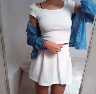 skirt dress white dress black and white dress pleated skirt two-piece jacket white skirt plain white top