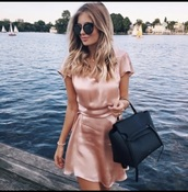 dress,rise,summer,fashion,blonde hair,short shorts,satin,rose gold,pink,pink dress,satin dress,pink satin dress