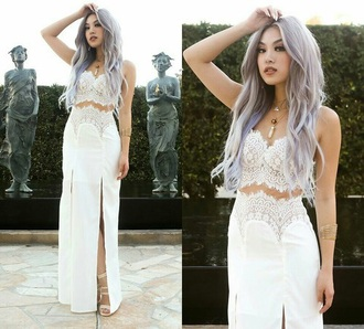 dress prom date outfit two-piece two piece dress set white dress white top skirt white skirt romantic prom dress long prom dress