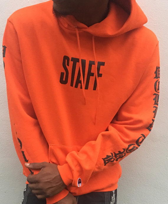 justin bieber purpose tour staff orange world tour hoodie. Black Bedroom Furniture Sets. Home Design Ideas