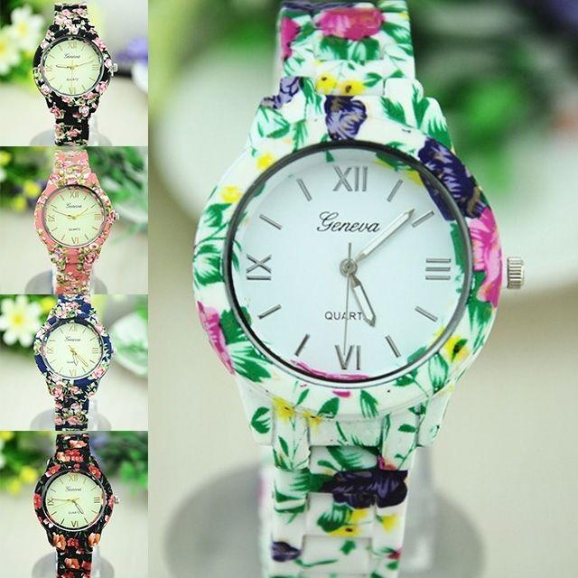 Fashion floral ceramic rose gold black geneva wrist watch for women girl lady