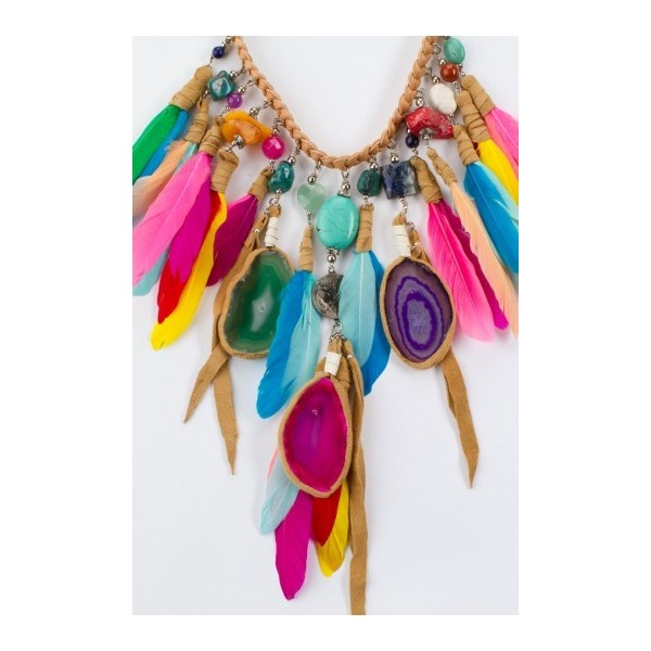 Rainbow Phoenix Necklace with Agate - Polyvore