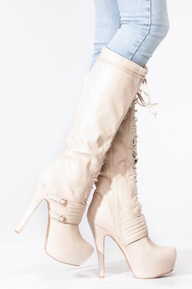 896632624db Qupid Stone Lace Up Platform Stiletto Knee High Boot @ Cicihot Boots  Catalog:women's winter boots,leather thigh high boots,black platform knee  high ...