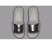 shoes,nike benassi,slide shoes,metallic shoes