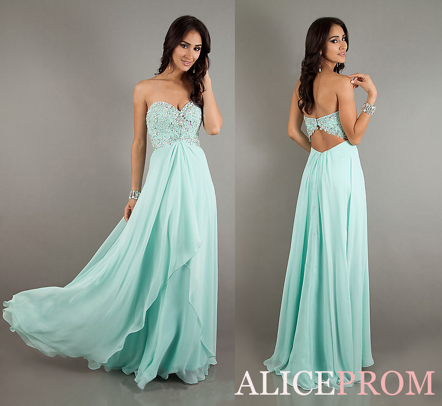 2013 New Mint Beaded Long Chiffon A line Evening Dress Prom Gown Hot selling-in Evening Dresses from Apparel & Accessories on Aliexpress.com