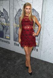dress,burgundy,burgundy dress,paris hilton,lace dress,lace,pumps,see through dress
