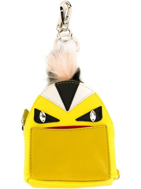 Fendi bag charm fur fox women bag backpack leather yellow orange