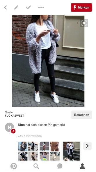 jacket grey faux fur fur coat fur jacket