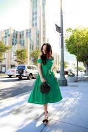 dress,midi dress,flat sandals,black bag,button up,green dress