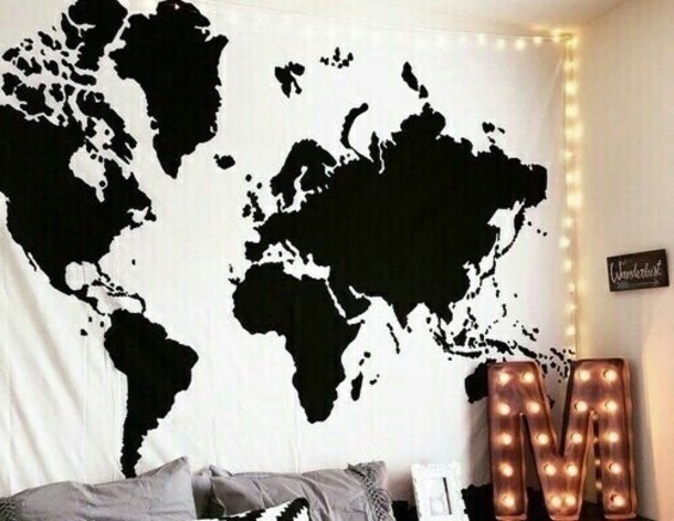 home accessory world map tapestry