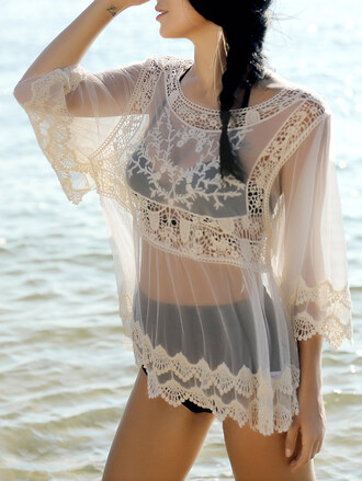 dress dressfo cover up fashion trendy girly summer black mesh see through top