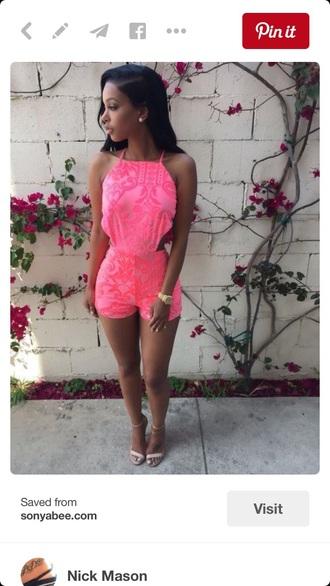 romper pink print sexy cute cute romper summer