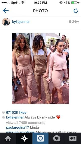 jumpsuit overalls fashion powder pink dupes khloe kardashian kim kardashian kylie jenner nude pumps