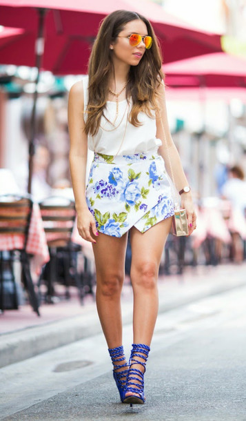 shoes strappy heels blue white floral skorts skirt short top tank top sunglasses messenger bag summer outfits fashion feminine girly gold shorts