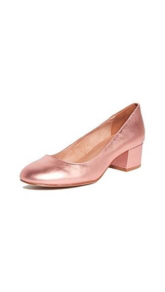 metallic pumps blush shoes