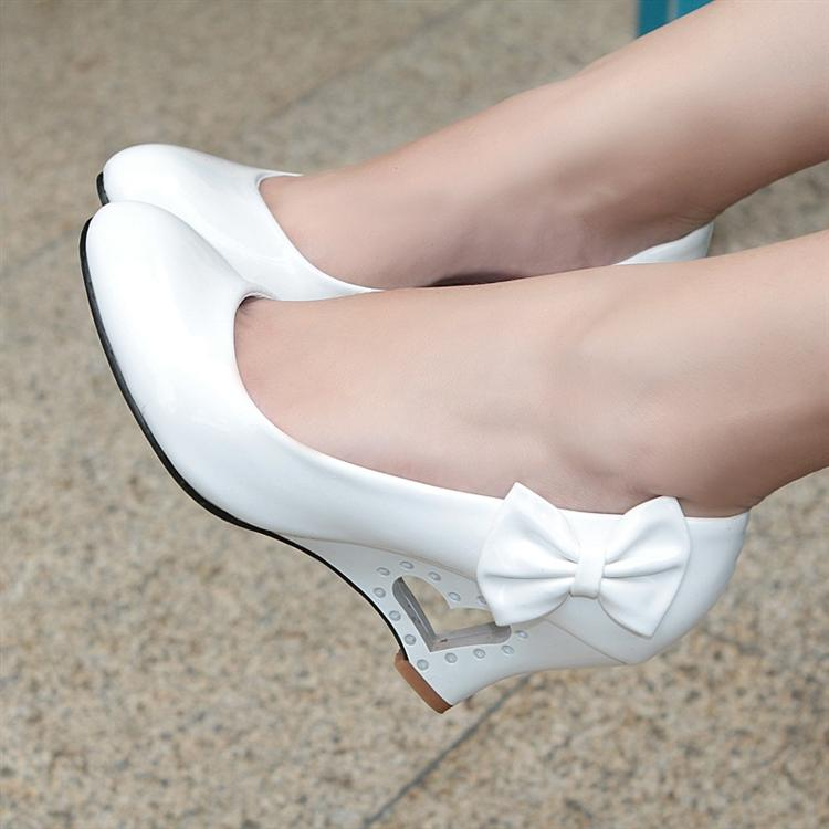 free shipping Wedges single shoes white 2013 high heeled shoes female shoes round toe japanned leather bow princess ankle boots-in Pumps from Shoes on Aliexpress.com