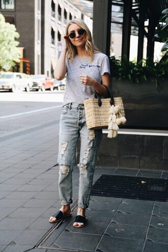 jeans mom jeans high waisted bag slide shoes black shoes top grey top sunglasses ripped jeans
