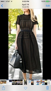 dress,black,eyelet dress,black dress,midi dress,a line dress,short sleeve dress,pointed flats,flats,black flats,bag,black bag,givenchy,givenchy bag,givenchy antigona,sunglasses,all black everything,eyelet detail,mesh dress