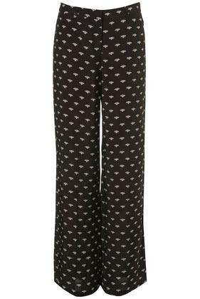 Black fan print wide leg trousers