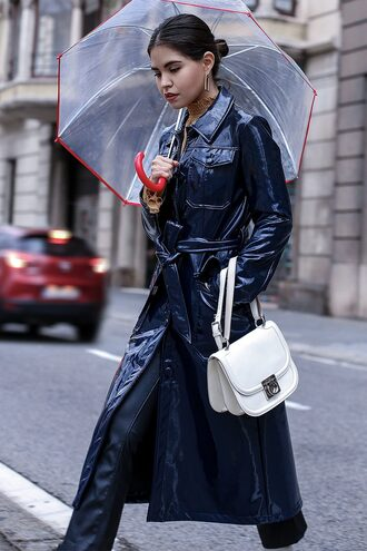 fake leather blogger coat top jeans shoes bag jewels vinyl coat winter outfits blue coat white bag