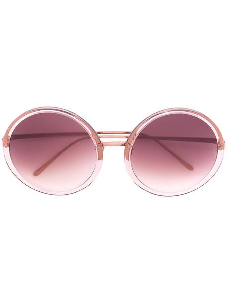 Linda Farrow - round frame sunglasses - women - Plastic - One Size, Grey, Plastic in metallic