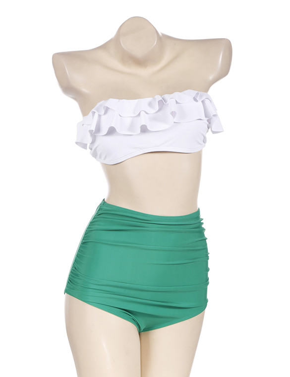 1fdd2c594b787 swimwear, swimwear, white crop tops, white top, white crop tops, white lace  shorts, off the shoulder, swimwear, high waisted bikini, high waisted shorts,  ...