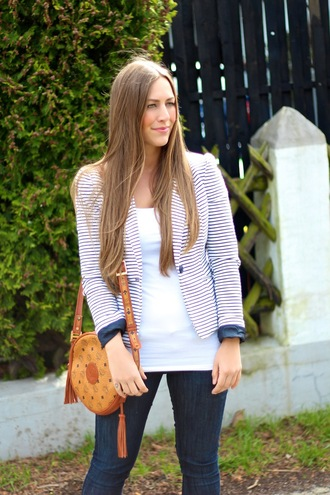 jacket stripes striped blazer mcm mcm bag blogger fashion blogger blazer denim jeans spring look spring outfits fashion toast fabes fashion ootd potd look lookbook fashion vibe tank top bag