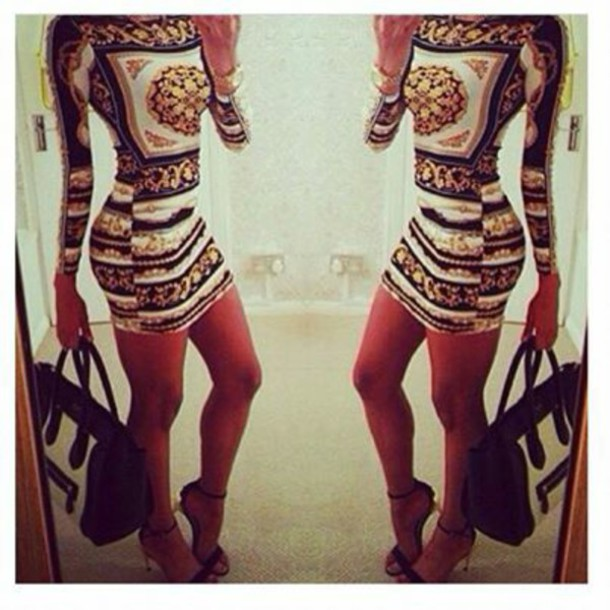 dress www.ebonylace.net ebonylacefashion print gold classy urban bag