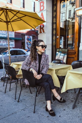 gracefullee made blogger jacket top pants jewels shoes sunglasses fall outfits high heel loafers loafers blazer