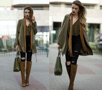 juliett kuczynska blogger coat blouse fall colors fall outfits waterfall jacket suede boots black ripped jeans olive green fall coat