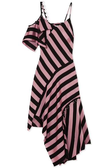 Marques' Almeida - Asymmetric embellished striped satin-twill midi dress