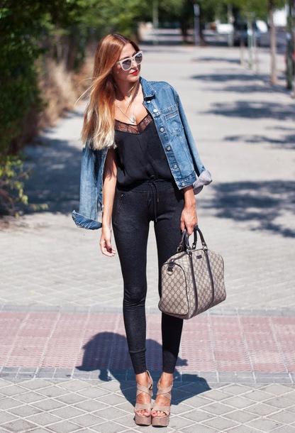 jacket black tank top denim jacket sunglasses black jeans beige strappy heels blogger