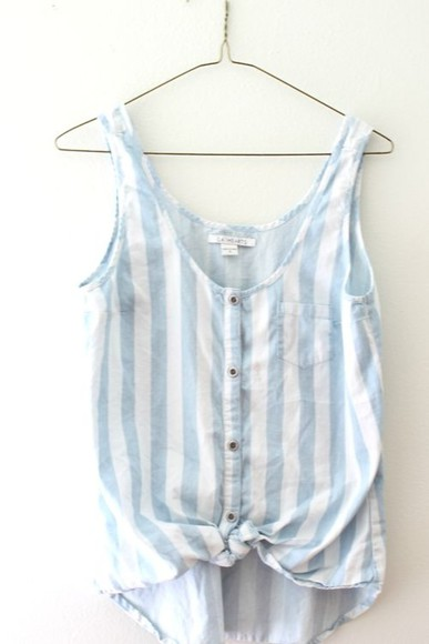 blue blouse white knot stripes