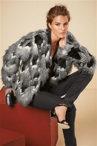 0b09aed43f Buy Grey And Black Patch Faux Fur Jacket from the Next UK online shop