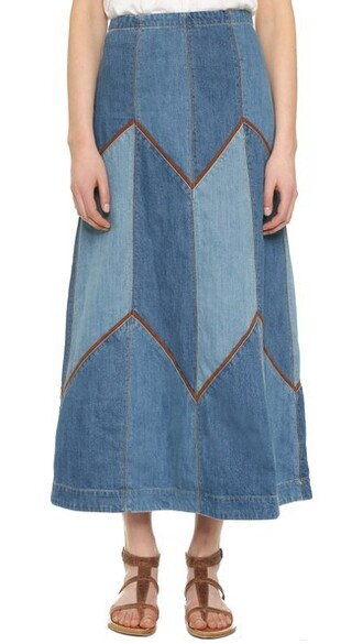skirt maxi skirt denim maxi blue