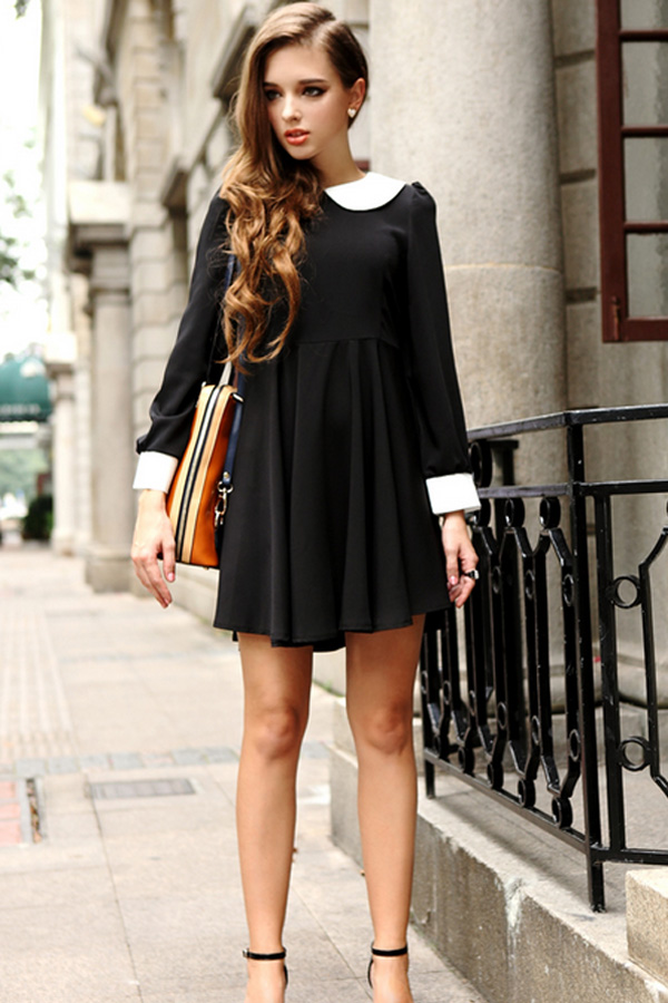 Contrast Colored Peter Pan Collar High Waist Dress - OASAP.com