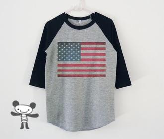 top usa flag flag shirt kid shirt toddler shirt youth shirt american flag baseball tee etsy vintage