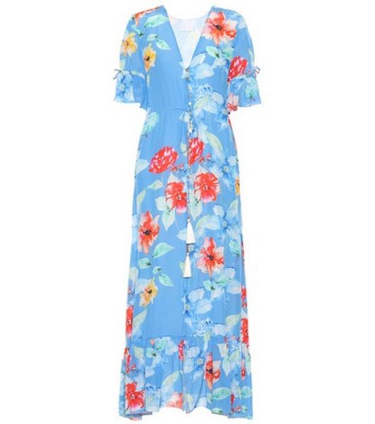 Athena Procopiou Floral-printed silk dress in blue