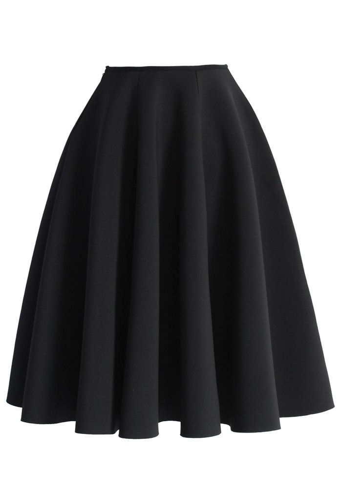 Simple Chic Airy Full Skirt in Black - Retro, Indie and Unique Fashion