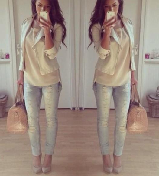 jeans shirt jacket bag jewels shoes blouse