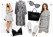 passions for fashion,blogger,skirt,dress,grey dress,white sneakers,cat eye,lace bra,bralette,kimono