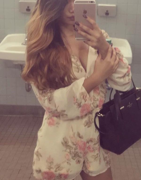 romper floral dress jumpsuit white cute floral romper