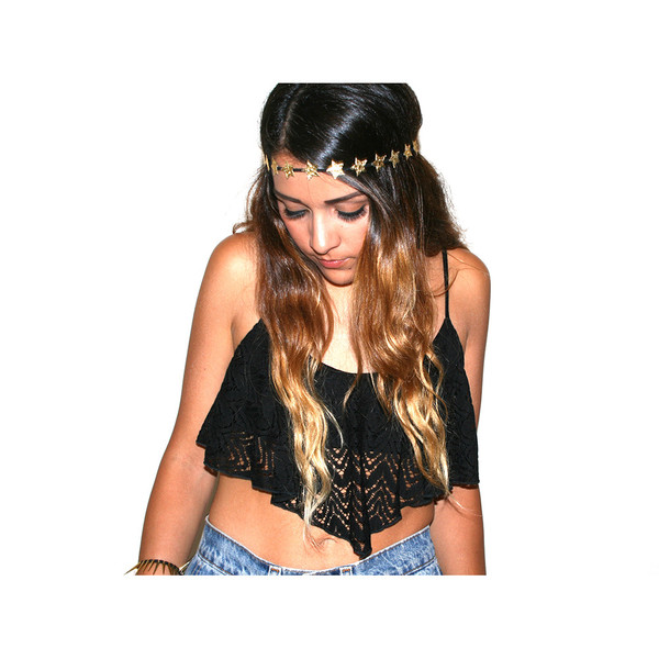 Black lace flowy crop top