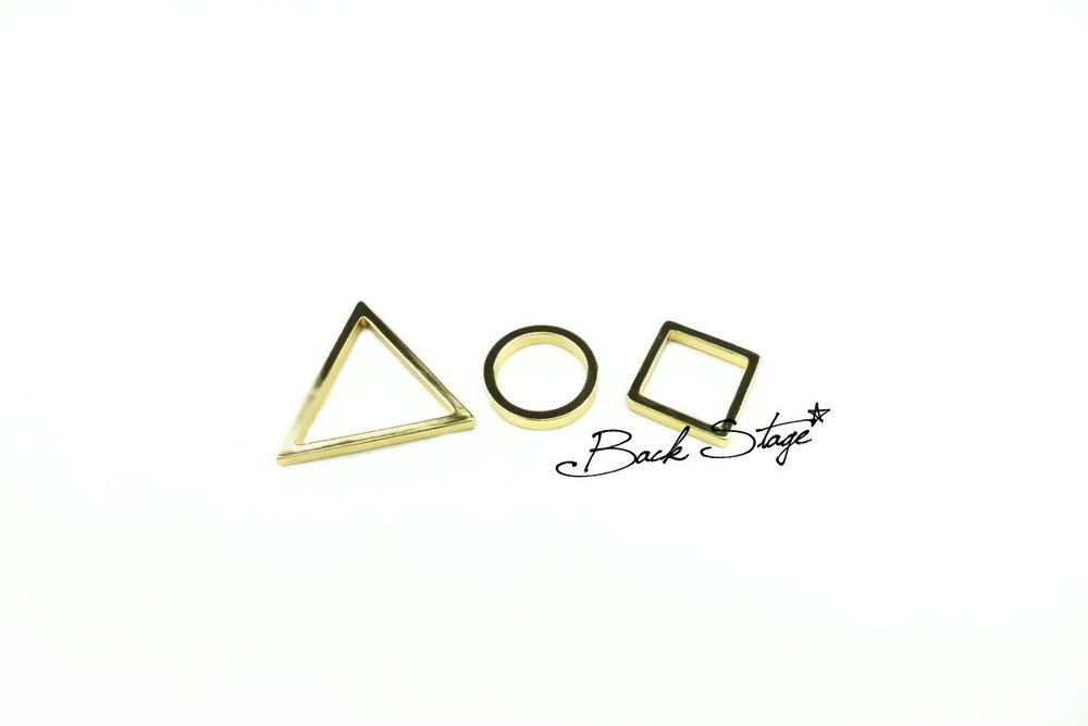 Pack of triangle circle square geometry mixed rings