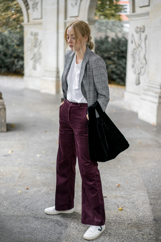 the limits of control blogger t-shirt jacket shoes fall outfits blazer grey jacket sneakers burgundy pants