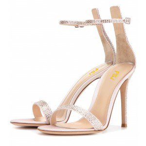 Champagne Bridal Sandals Ankle Strap Rhinestone Stiletto Heels
